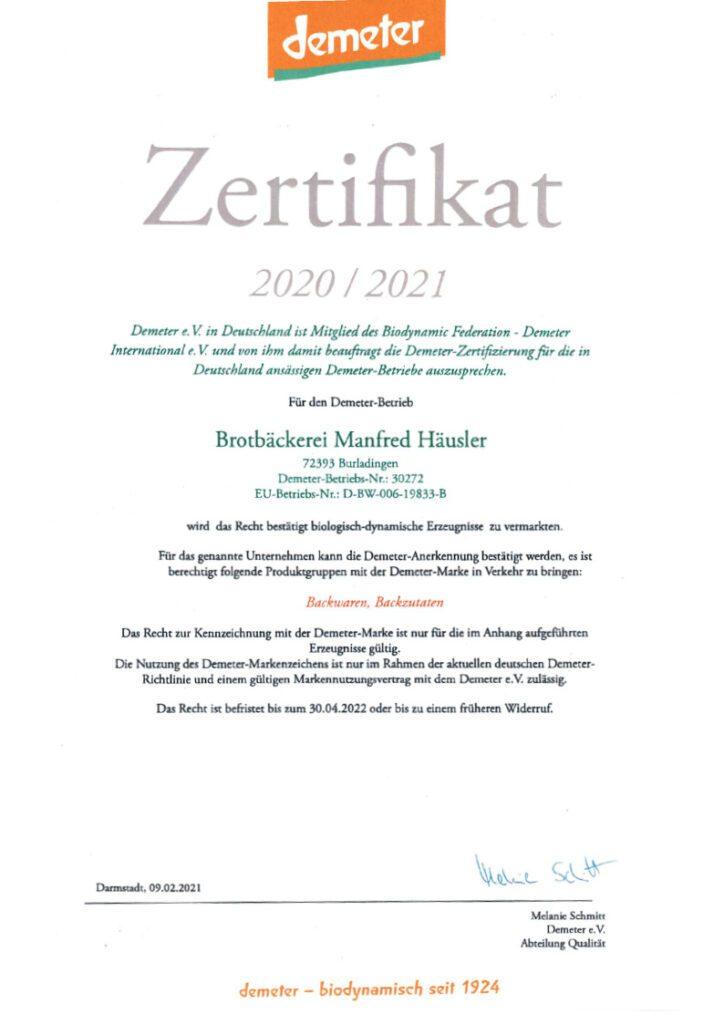 Demeter Zertifikat